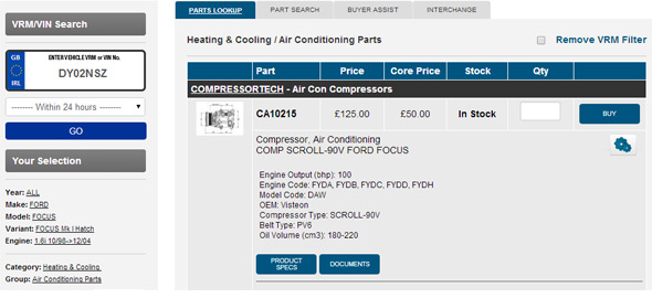 Compressortech Parts Lookup