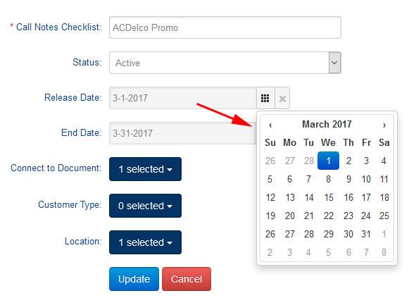 Checklist Date Range