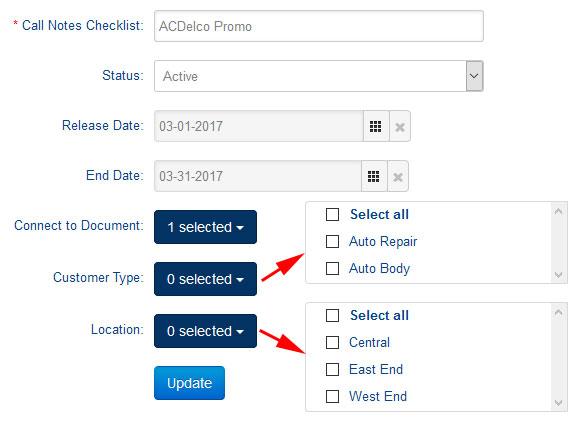 Checklist Type Location Desktop