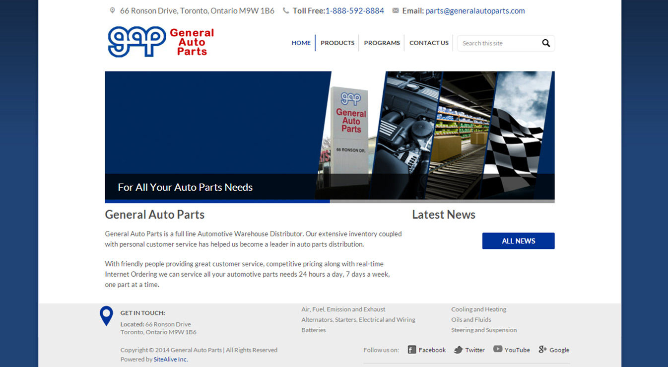 General Auto Parts >> Sitealive Inc Wordpress Website Launched For General Auto